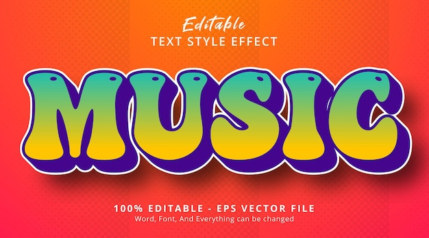 Music text on hype gradient style effect, editable text effect