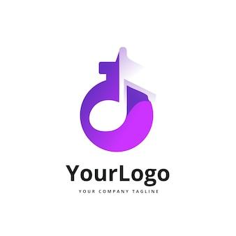 Music tone and chemical bottle gradient logo. premium vector