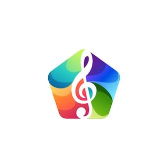 楽音のグラデーションロゴデザイン