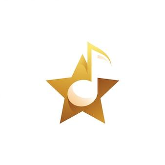 Музыка мелодия и звездный логотип