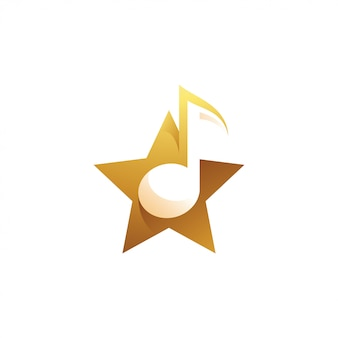 Music tune and star logo
