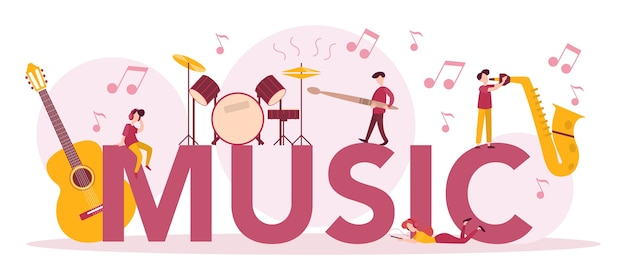 Music typographic header concept set. young performer playing music with professional equipment. talented musician playing musical instrumentss. .