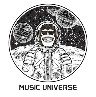 Music universe hand drawn illustration. funny monkey in sunglasses and spacesuit listening to music.