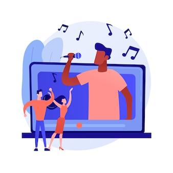 ミュージックビデオ抽象的な概念ベクトルイラスト。公式ビデオクリップ、インターネットとテレビのプレミア、ミュージックビデオの制作、プロのディレクター、撮影クルー、ミュージシャンのプロモーションの抽象的なメタファー。
