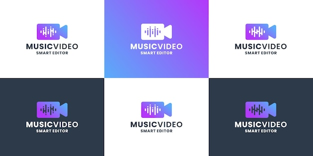 Music video logo design. music wave equalizer combine with camera for editor and film director