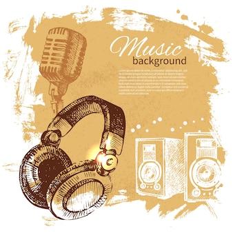 음악 빈티지 배경입니다. 손으로 그린 그림. 헤드폰으로 스플래시 블롭 복고풍 디자인