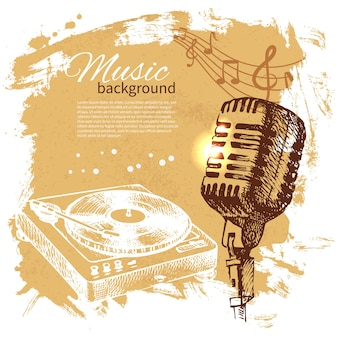 음악 빈티지 배경입니다. 손으로 그린 그림. 마이크가 있는 스플래시 블롭 복고풍 디자인