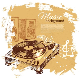 Music vintage background. hand drawn illustration. splash blob retro design with turntable
