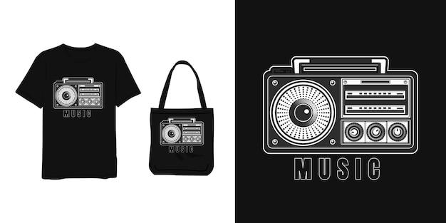 음악, 빈티지 테이프 t 셔츠 및 가방 디자인 회색 흰색 현대 간단한 스타일