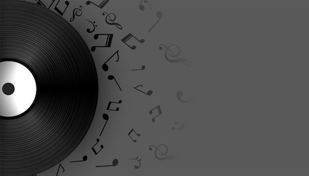 Музыкальный виниловый лейбл со звуковыми нотами