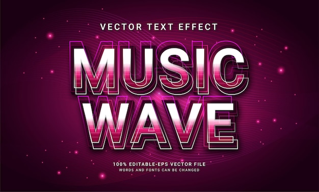 Music wave 3d text style effect themed night music event
