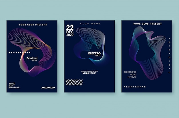 Music wave poster . sound flyer with abstract gradient line waves.