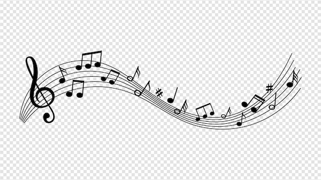 Музыкальная волна с нотами.