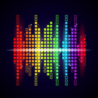 Music waves background. colored equalizer shapes sound voice visualization studio  logotype.