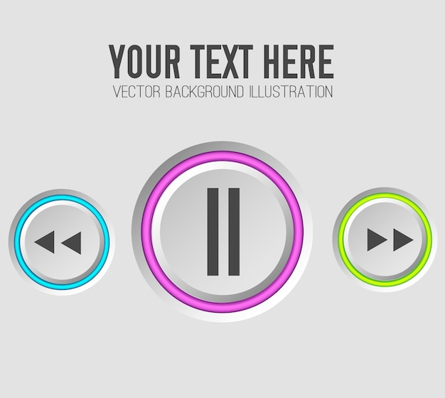 Music web buttons set template