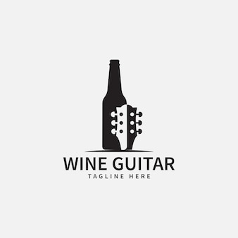 Music and wine logo design template vector illustration of wine bottle icon and guitar icon concept