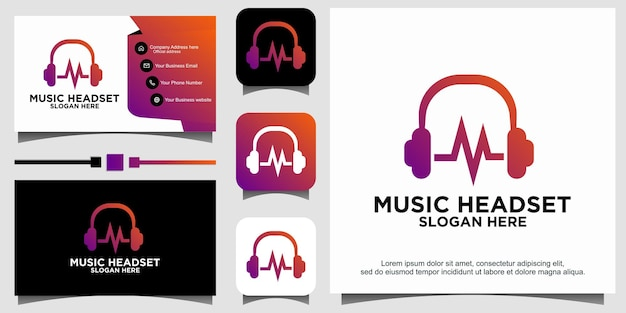 Music with headset logo design
