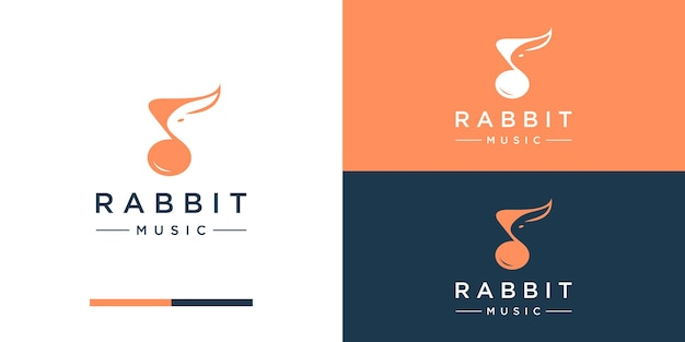 Music with rabbit logo design inspiration negative space
