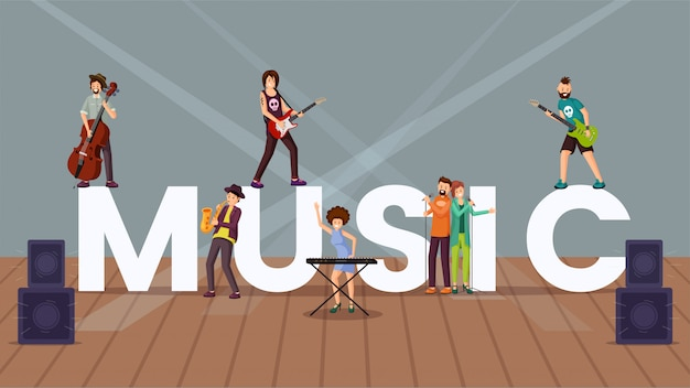 Music  word concept banner