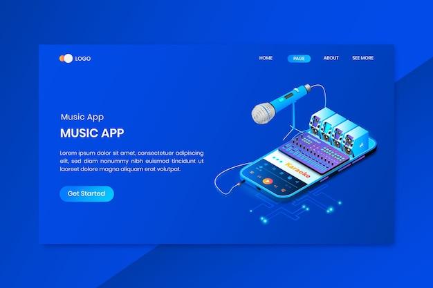 ミュージカルアプリアイソメトリックコンセプトのランディングページ