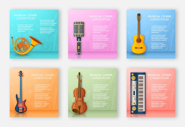 さまざまな楽器、高音部記号、音符で作られた音楽的な背景。テキストの場所。カラフルなイラスト。