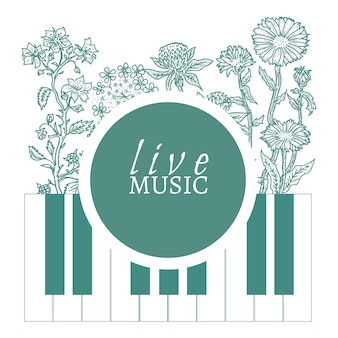 Musical cafe live music cover template hand drawn vintage sketch