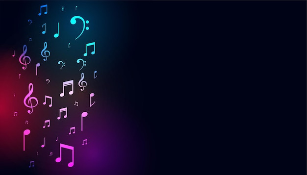 Musical colorful notes on dark background