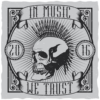 Musical creative design poster with quote in music we trust label design for t-shirts