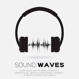 ミュージカルdjスタイル-音波のあるヘッドフォン。音楽とオーディオのコンセプトデザイン要素。