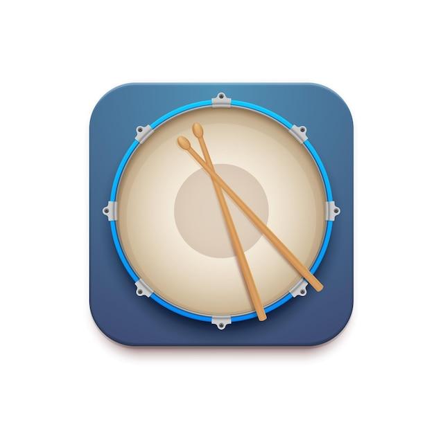 Музыкальный барабан приложение вектор 3d значок малого барабана с палками. изолированная квадратная кнопка интерфейса мобильного или веб-приложения, пользовательского интерфейса или графического интерфейса с видом сверху на ударный музыкальный инструмент и барабанные палочки