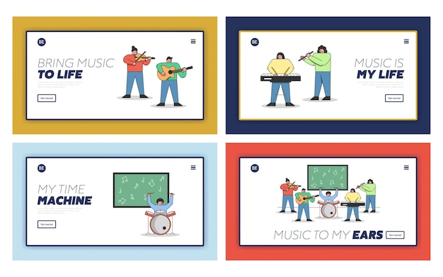 Musical education concept. website landing page set.