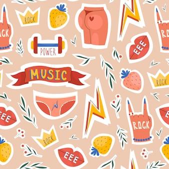 Музыкальные элементы бесшовные модели для фестивалей рисованной плоский стиль