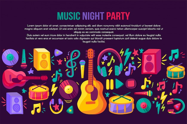 Musical festival invitation vector template