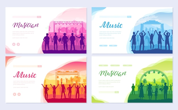 Musical festival on outdoor air park. the musical group performs song brochure card set.