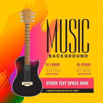 Musical flyer poster with realistic acoustic guitar