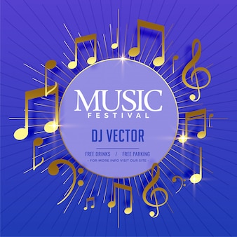 Musical flyer template with golden sound notes