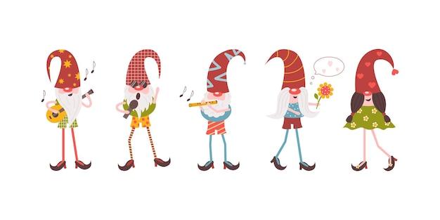 Музыкальная группа бородатых гномов и пара влюбленных персонажей набор векторных мультяшных гномов