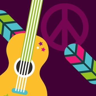 Musical guitar feathers peace and love sign