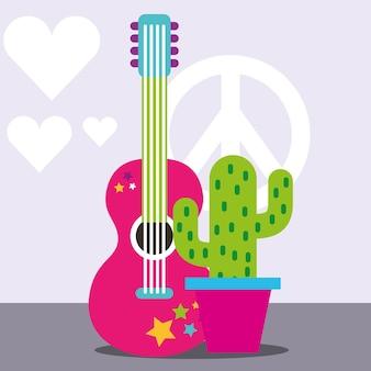 Музыкальная гитара горшечный кактус мир и любовь свободный дух