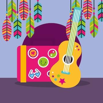 Музыкальные гитары чемодан перья наклейки boho свободный дух