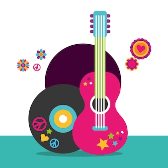 Musical guitar and vinyl disc flowers hippie free spirit