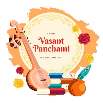 Musical hindu instrument happy vasant panchami