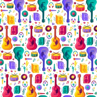 Musical instrument flat seamless pattern