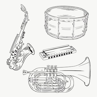 Musical instrument hand drawn collection
