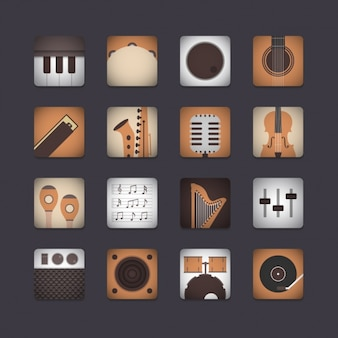 Musical instrument icon collection