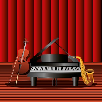 Musical instrument piano saxophone and cello on the stage illustration detailed