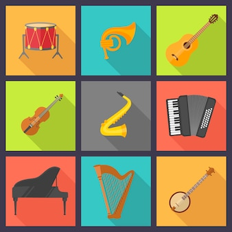 Musical instrument set in colorful squares
