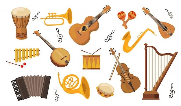 Musical instrument set Free Vector