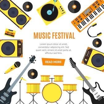 Музыкальные инструменты и музыкальные инструменты баннер плоский стиль.
