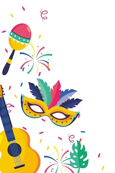 Musical instruments brazil party cartoons vector illustration